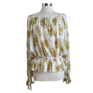 ! 5/$25 ! Aakaa Cream w/ Gold Floral Print Top